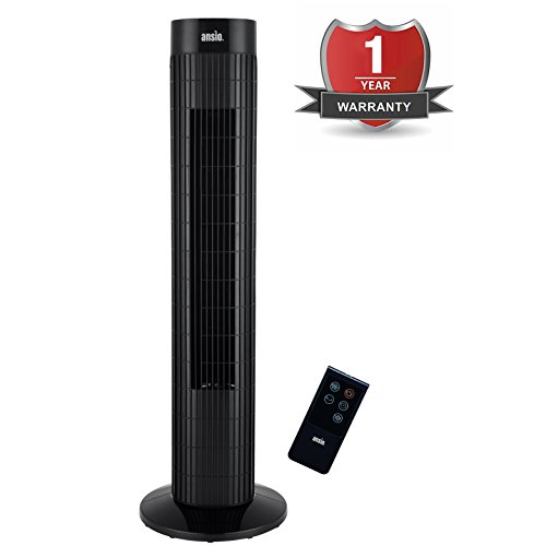 416T sMlnYL - BEST BUY #1 ANSIO Black Oscillating Tower Fan with Remote Control and 3-Speed 3-Wind Mode with Long 2m Cable, 30-Inch. Batteries NOT Included.Oscillates 90 degrees Reviews and price compare uk