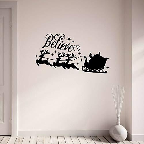 Glauben Sie an Weihnachten Wandaufkleber Santa Schlitten Rentier Vinyl Wandkunst Aufkleber Wohnzimmer Schlafzimmer Wanddekoration 57 * 107cm -