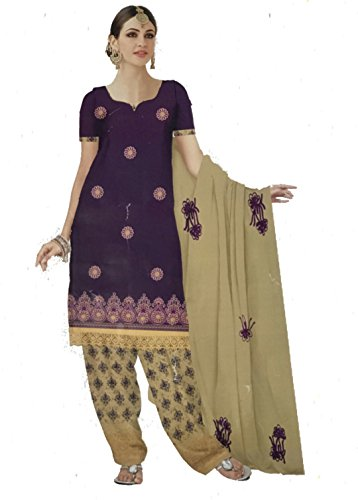 D.Chiku Rumisha Salwar Kameez Dupatta Indian Dress Material in Purple & Yellow...