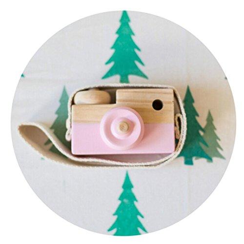 Kleinkindspielzeug Longra Niedliche Baby Kinder Holz Kamera Spielzeug Kindermode Bekleidung Accessory Zubehör sicher und natürlich Motorikspielzeug Geburtstag Weihnachtsgeschenk Spielzeug (Pink) (Bekleidung Multi Kinder Kleine)
