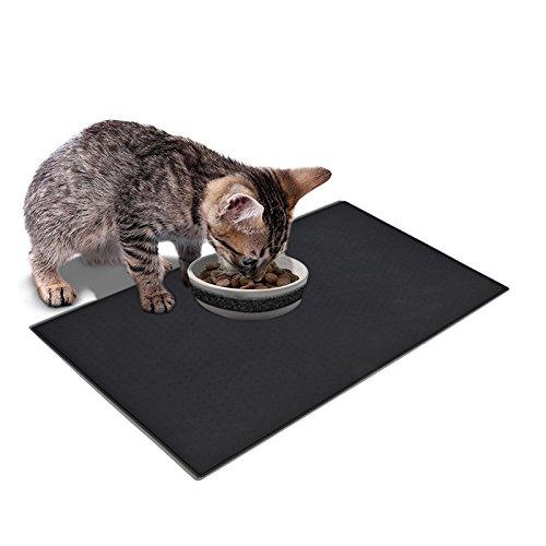 Goldwheat premium Silikon Futtermatte für Hund Katze und Haustier wasserdicht rutschfest frei von allergenen und giftigen Stoffen schwarz und grau 48*30 cm