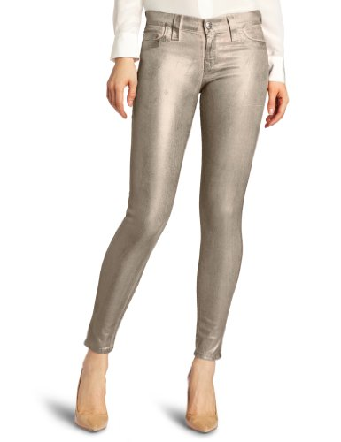 True Religion Damen Jeans Skinny Skinny Jeans HALLE METALLIC SPRAY Wash WS PEWTER, Farbe: Goldfarben, Größe: 24 (Pocket Jean Leg Skinny)