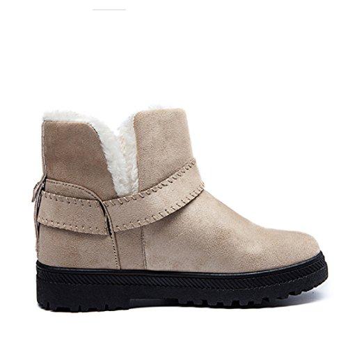 NEOKER Donna Stivali da Neve con Pelliccia Invernali Caldo Scarpe Bassi Morbido Casuale Outdoor Boots 35-44 cachi