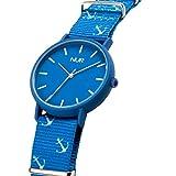 Nur Wanderlust - Blue Navy el Reloj analógico Unisex pensado para los Jovenes y Perfecto para Tus Regalos. con Correa en Tela. (Azul)