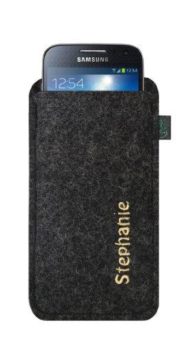 Housse en feutre pour Samsung Galaxy S4Mini et iPhone 5C, feutre couleur Anthracite, individuellement avec nom/Concept de broderie de qualité, différentes couleurs au choix à broder envoyer votre Dé Stickfarbe gold