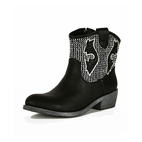 Mesdames les talons bas brodé cowboy style occidental bottines Noir