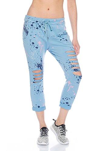 Fashionflash Damen knöchellange Hose zerissen (one Size, hellblau)