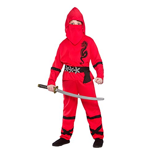 Boys Power Ninja Red Black Fancy Dress Up Party Costume Halloween Child Outfit (Kids Outfits Dress Up)