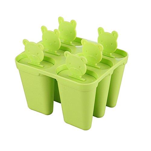 TONVER Eis Form Kreativ DIY Kombination Popsicle Cute Little Bear Frozen Popsicle Eis Schöpfern Ice Cube Modell Kochen Tools, Polypropylen, grün, 10.8*11.2cm