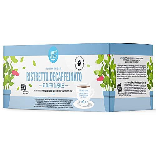 Amazon-Marke: Happy Belly Ristretto Decaffeinato Gemahlener UTZ Röstkaffee, entkoffeiniert, in Kapseln (kompostierbar), geeignet für Nespresso-Maschinen, 50 Kapseln (5x10)