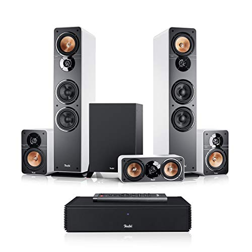 Teufel Ultima 40 Surround Complete 5.1-Set Weiß Heimkino Lautsprecher 5.1 Soundanlage Kino Raumklang Surround Subwoofer Movie High-End HiFi