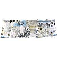 Körnerkissen Wärmekissen Dinkelkissen Maritim weiß / beige / blau 60x20 mit Schutzengel Schlüsselanhänger 100% Baumwolle 200g/qm