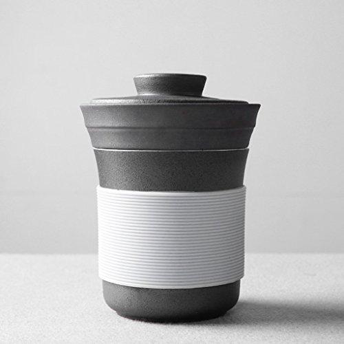 Créatif avec tasse de filtre de couverture tasse en céramique personnel tasses de couple tasse principale tasse simple séparation de tasse de thé (Color : Black)