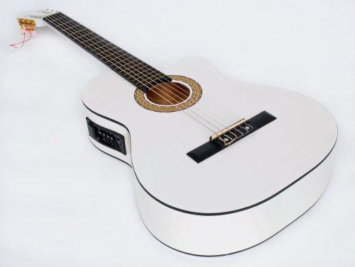 Cher rystone 42601808870684/44banda Guitarra clásica con pastilla EQ Color Blanco