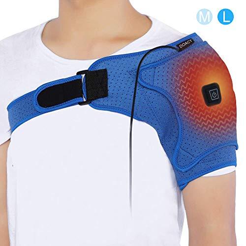 Doact Wärme Neopren Verstellbare Schulterbandage, Unterstützung Wrap Gürtel Schulter Unterstützung, USB elektrische Schulter Heizkissen für Rotatorenmanschette, gefrorene Schulter L(Büste 103-130cm) -