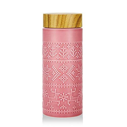TIANLIANG04 Becher、Kaffeetassen Porzellan Tassen Tasse Keramik Becher Mit Deckel, Hellrosa (Holz)