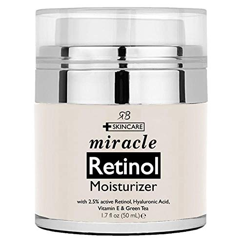 Retinol Moisturiser Cream for Face 50 Milliliter with 2.5 Percent Retinol, Hyaluronic Acid and Jojoba Oil. Best Night and Day Anti Ageing Facial Cream.