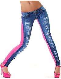 594c31e2900d8a Jela London Damen Destroyed-Style Jeans Skinny zweifarbig Rückseite Stretch- Hose (32-