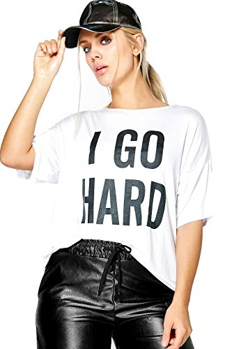 blanc Femmes plus caitlin t-shirt à slogan «i go hard» Blanc