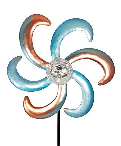 ABC Home Garden 22522, Gartendeko | Solarleuchte LED | Lichtsensor | Windrad, Metall, Mehrfarbig, 12.5 x 30 x 121 cm - 2