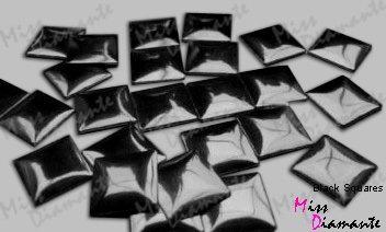 Twisted Envy quadratisch schwarz 7mm Hotfix Eisen auf Nagelköpfe
