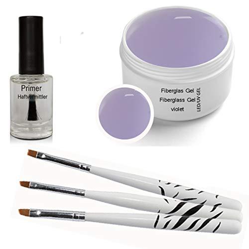 Gel de fibre de verre UV à LED VIOLET Clair 30 ml avec Primer et 3 pcs pinceaux