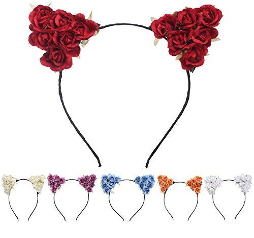 BABEYOND Katzenohren Haarreif Blume Katzenohren Haarband Party Accessoires Damen Mädchen Haarreif Cosplay Selfie Accessoires (Style A-6 Packs)
