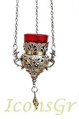 Idea Regalo - Placcato oro lumino di vigilanza ad olio votivo greco in bronzo religioso cristiano ortodosso con vetro rosso da appendere 9503GS