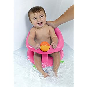 Safety 1st Pink Baby Ergonomic 360 Degree Swivel Action Bath Seat and Bath Book Package - Suitable from 6 Months Approx