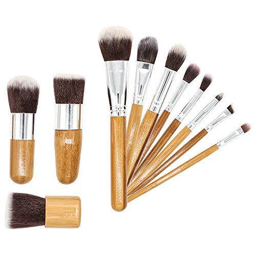 Lykke. 11 Pcs Maquillage Pinceaux, Outil de Pinceau Cosmétique Professionnel avec Poignée en Bambou Portable Sac Multifonction pour Fondation Poudre Ombre à Paupières Blush