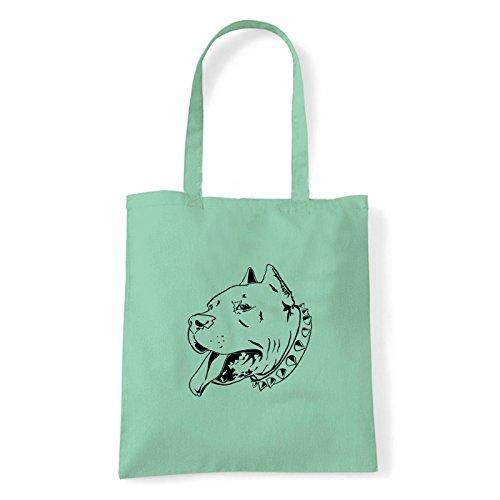 Art T-shirt, Borsa Shoulder pitbull Menta