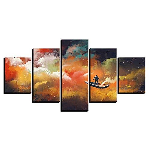 CHLCH Pittura Decorativa,HD 5 Incantesimo Astratto Paesaggio veliero Pittura Camera da Letto casa Pittura Dipinti murali 4 Nucleo di Pittura 40x60cmx2 40x80cmx2 40x100cmx1
