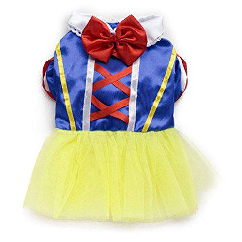 Einfach Kostüme Disney Prinzessin (Pet Dog Snow White Disney Halloween Dress Kostuem Outfit Prinzessin Kleider)