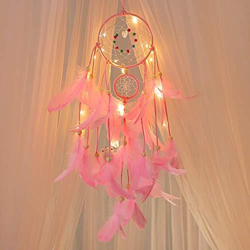 Huihong Traumfänger mit Licht Auto Wohnkultur Feder Handmade Dreamcatcher Wandbehang Zimmer Wohnkultur Dekoration (Rosa)