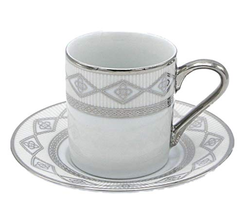 Porzellan Porzellan Espresso Turkish Coffee Demitasse 6er Set Tassen + Untertassen Geflochtene Bordüre fein Demi-tasse, 3 oz, 100 ml silber Band Demitasse Cup