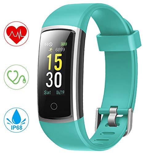 YONMIG Fitness Armband, Wasserdicht IP68 Fitness Tracker mit Pulsmesser Blutdruckmessung 0,96 Zoll Farbbildschirm Aktivitätstracker Smartwatch Schrittzähler Smart Watch Uhr Damen Kinder (Grün)