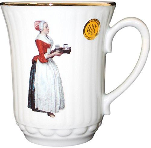 Dresden-Onlineshop Porzellantasse Schokoladenmädchen | Kaffeetasse | Porzellan | Porzellanmalerei | Tasse mit Goldrand | Handgemalt | spühlmaschinenfest