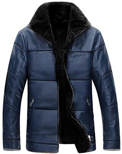 WS668 Homme Hiver PU Cuir Stand Collar Warm Manteaux Haute qualité Doublure en Fausse Fourrure Doudoune Veste Outdoor Parka Gros Taille XS-6XL Mens Leather Jacket (FR X-Large (Asia Tag 3XL), Bleu)