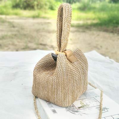 Designer Ring Buckle Woven Handtaschen Sommer Frauen Einfache Casual Crossbody Mini Woven Bucket Bag Brown -