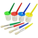 Smallones 4 Pieces Spill Proof Paint Cups and Paint Brushes for Kids Assorted Colored Children\'s Paintbrushes
