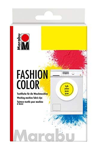 Marabu 17400023019 - Fashion Color, Textilfarbe zum Färben in der Waschmaschine, kochecht, für Baumwolle, Leinen und Mischgewebe, 30 g Farbstoff und 60 g Reaktionsmittel, gelb (Gelb Stoff Farbstoff)