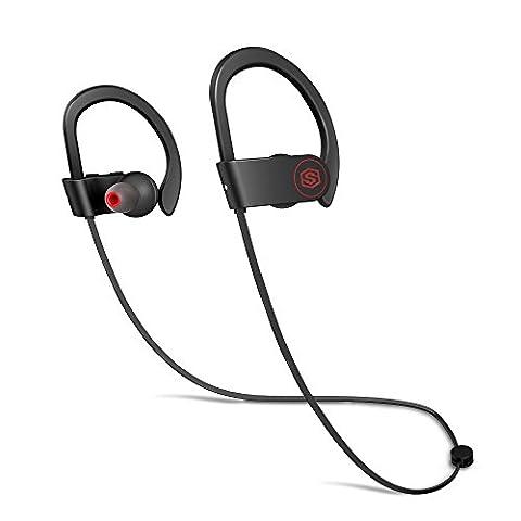 SMARTOMI Era Bluetooth Kopfhörer 4.1 Sport Wireless Kabellose Ohrhörer Drahtlose Headset 10-Stunden-Spielzeit IPX6 Wasserdicht für Trainieren Joggen mit Mikrofon für iPhone Android Handy Tablett (Handy Akkulaufzeit)