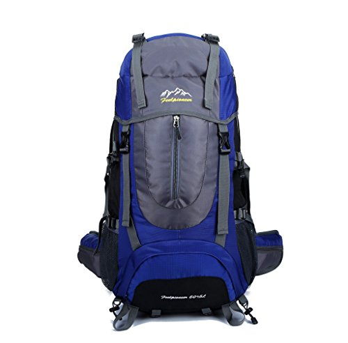 Skysper- 65 Litre Rucksack Backpack for Camping Hiking Travel Biking Cycling Blue