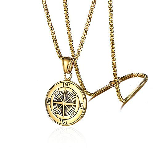 DTKJ Stainless Steel Compass Men's Necklace Titanium Viking Compass Cast Pendant -
