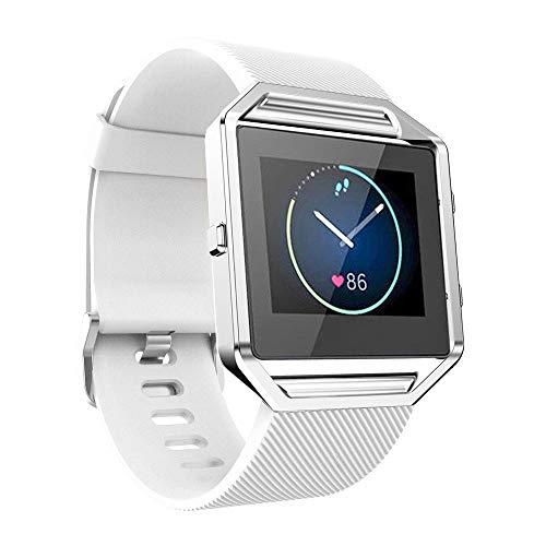 WAOTIER für Fitbit Blaze Armband Silikon Armband mit Metall Verschluss Atmungsaktive Ersatzband für Fitbit Blaze Smart Watch Armband mit Twill Muster Wasserdichter Armband für Frauen Männer (Weiß)