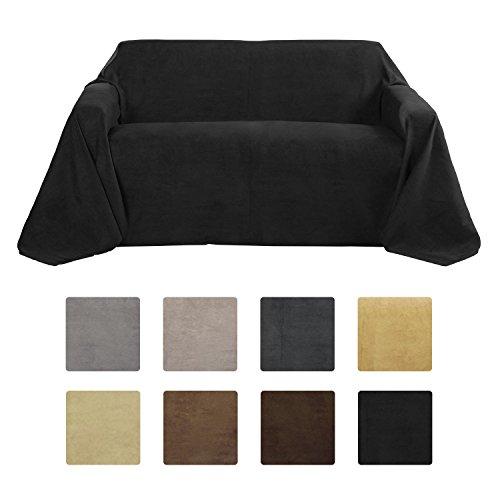 Beautissu plaid coperta romantica 210x280 cm - nero - effetto scamosciato - ideale come copridivano o copriletto