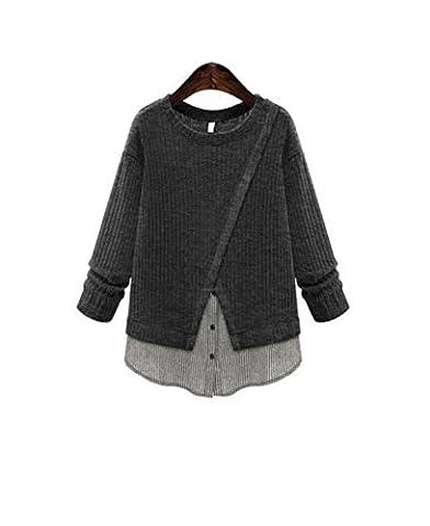CHLXI Damen Groß Locker Langärmlig Pullover T-Shirts Blusen,Grey-XL