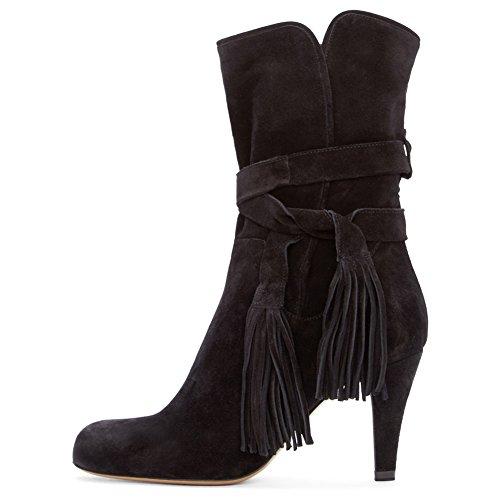 Onlymaker Damenschuhe Stiefeletten Kurze Stiefel Boots Schnueren High Heels Pumps Schwarz Schwarz
