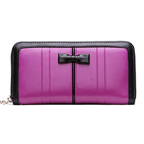 HT  Women Wallet, Damen Clutch, Women Wallet, violett, Women Wallet (Purse Bag Bow)