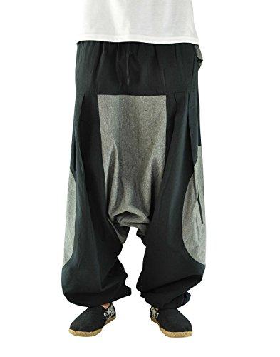 virblatt �?Haremshose Herren Damen Aladinhose alternative Kleidung �?Elemente Grau Und Schwarz
